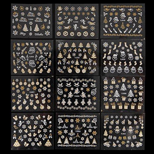 MAKARTT 12 Designs Christmas Nail Art Stickers Decals 3D