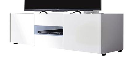 trendteam 1569-318-01 TV muebles mueble para Imola, 130 x 37 x 39 cm, en blanco brillante