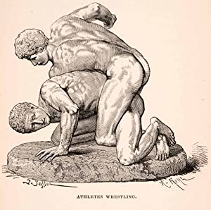 1896 Wood Engraving Athletes Wrestling Historical Rome Italy Sculpture Nude - Original In-Text Wood Engraving