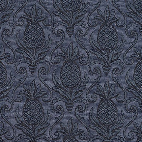 E521 Blue Pineapple Jacquard Woven Upholstery Grade Fabric By The Yard (Buy Upholstery Fabric compare prices)