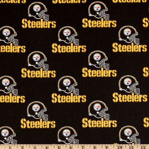 NFL Cotton Broadcloth Pittsburgh Steelers Black Fabric at Steeler Mania