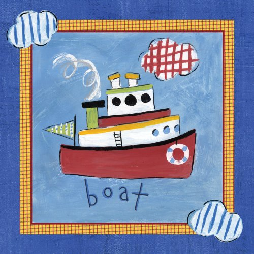 "Art 4 Kids ""Go Man Go Boat"" Mounted Art Print, 12""X12"" front-780401"