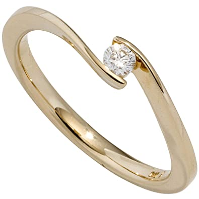 Ring Diamond Ladies Solitaire Ring With Diamond 0.20 carats (585 Yellow Gold