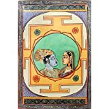 "Dolls Of India ""Radha Krishna - The Divine Lovers"" Miniature Painting On Canvas - Unframed (73.03 X 50.16 Centimeters..."