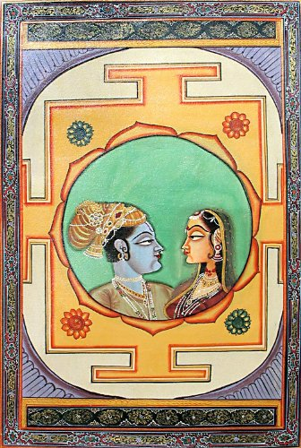 """Dolls Of India """"Radha Krishna - The Divine Lovers"""" Miniature Painting On Canvas - Unframed (73.03 X 50.16 Centimeters..."""