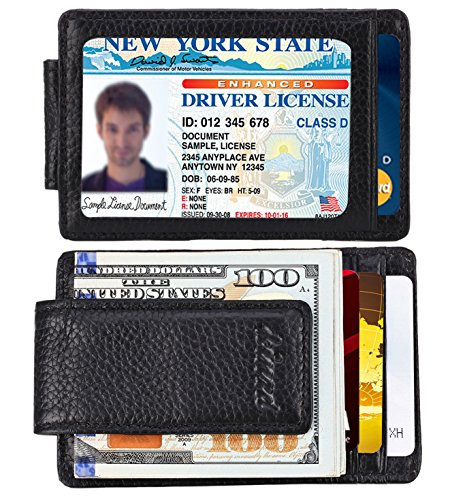 Money Clip, Front Pocket Wallet, Leather RFID Blocking Strong Magnet thin Wallet (one size, Black)