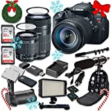 Canon EOS Rebel T5i 18.0 MP CMOS Digital Camera HD Video with Canon EF-S 18-55mm f/3.5-5.6 IS STM Lens + Canon EF-S 55-250mm f/4-5.6 IS STM Lens + 2pc SanDisk 32GB Memory Cards + Battery Grip