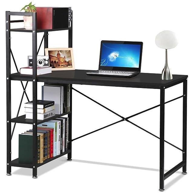 Scrivania per computer, da Popamazing. Con scaffalatura a 4 ripiani Per casa, studio, ufficio, eccetera