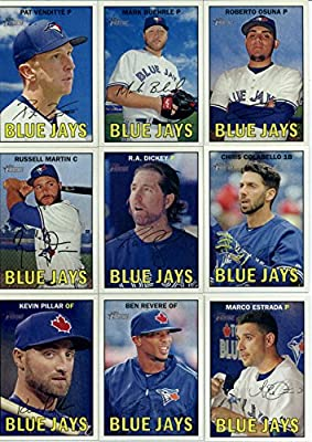 2016 Topps Heritage Toronto Blue Jays Team Set of 13 Cards: Pat Venditte(#61), Mark Buehrle(#94), Roberto Osuna(#99), Russell Martin(#131), R.A. Dickey(#149), Chris Colabello(#202), Kevin Pillar(#206), Ben Revere(#228), Marco Estrada(#245), John Gibbons(#