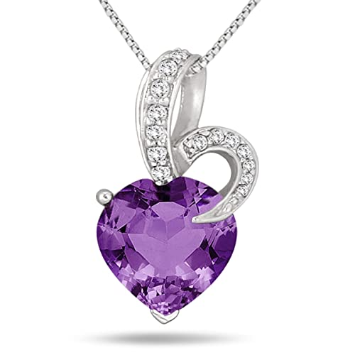 5.50 Carat Amethyst and Diamond Pendant in Solid .925 Sterling Silver