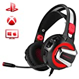 PHOINIKAS H4 Stereo Gaming Headset,3.5mm Bass Headphones,Over Ear PC Gaming Headphones with Mic, Surround Sound,Noise Isolation, Volume Control,LED Light for PS4,Xbox One,PC,Laptop,Mac,iPad(Red) (Color: Red)