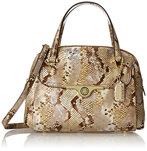 Anne Klein Lady Lock Satchel Top Handle Bag, Beige/Multi, One Size