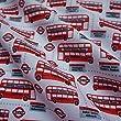 """White Polycotton Fabric """"London Buses"""" Print (per Metre)"""