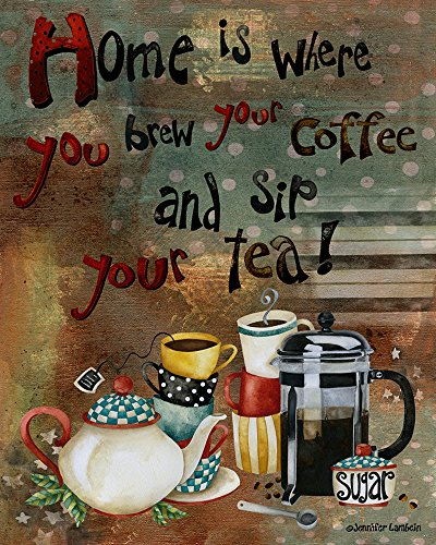 Brew Coffee Sig Tea 14 x 11 inch Inspirational Wood Decorative Sign Plaque