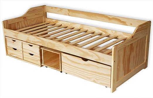 kmh bett aus massivem pinienholz 200 x 90 cm mit bettkasten. Black Bedroom Furniture Sets. Home Design Ideas