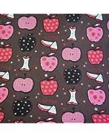 Tissu de Coton imprimé - pommes géniales (Brun) | Largeur: 160cm (1 mètre)
