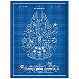 Inked and Screened Star Wars Millennium Falcon Design Patent Art Poster Silk Screen Print, Blue