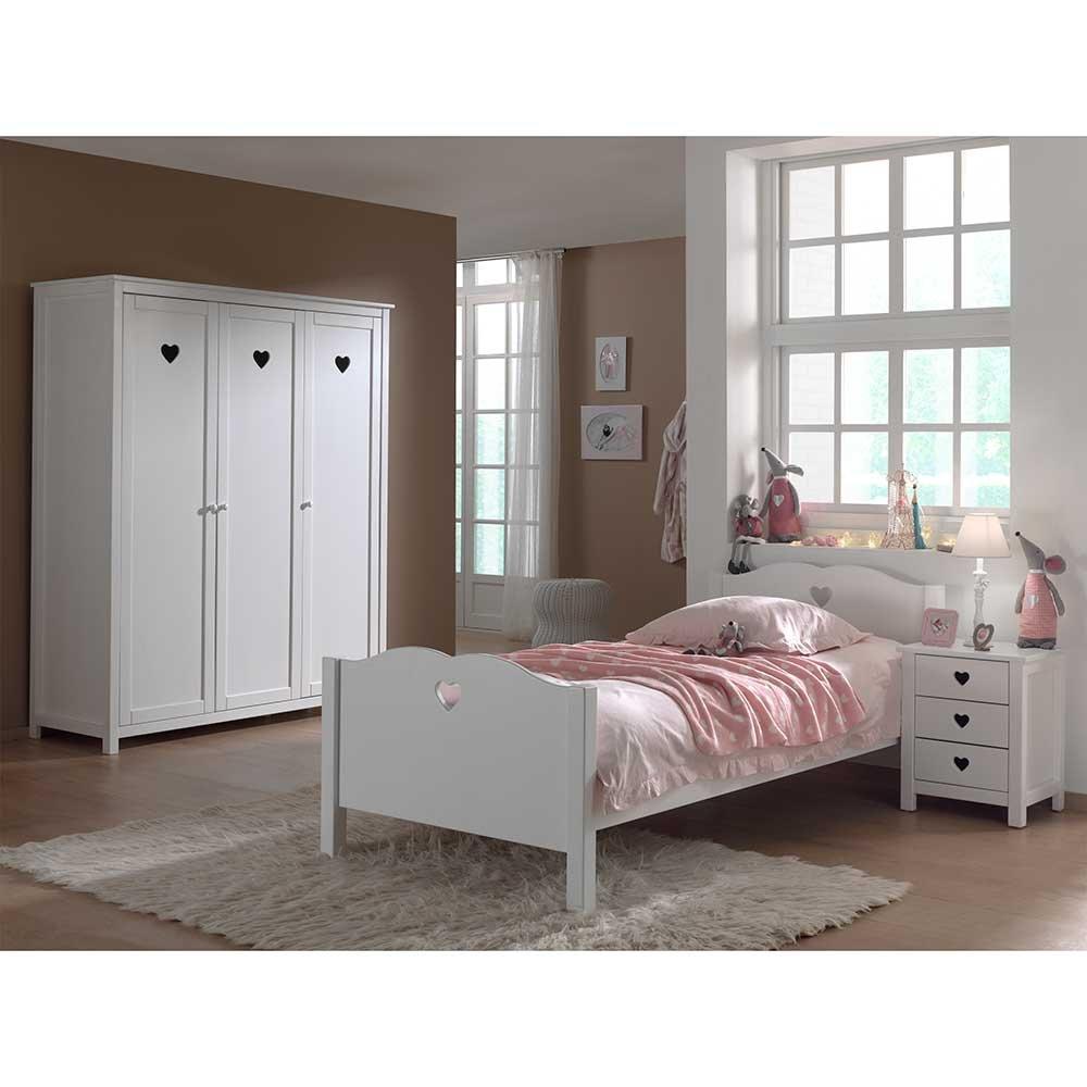 Jugendzimmermöbel in Weiß Herzchen (3-teilig) Pharao24