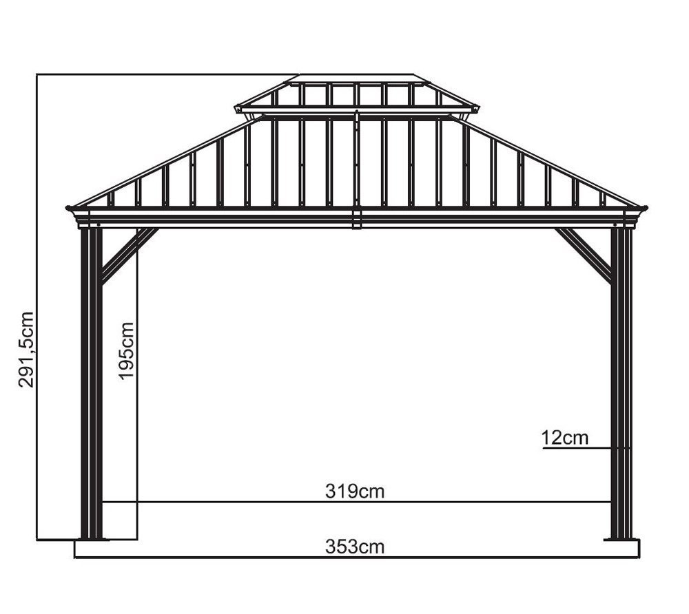 Sojag 500-7156980 Track No.77 Messina Hard Top Sun Shelter, 10 by 12, Charcoal