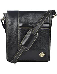 Genuine Leather Stylish Multipurpose Unisex Sling Bag( Black)