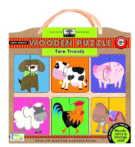 Green Start Wooden Puzzles: Farm Friends - Earth Friend Puzzles with Handy Carry & Storage Case