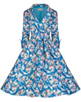 "Lindy Bop ""Vivi"" Style vintage English Rose Floral Print Dress 1950"
