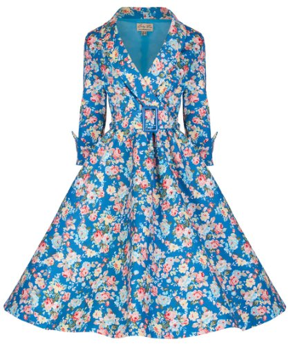 Lindy Bop 'Vivi' Vintage 1950's Style Sky Blue English Rose Floral Print Dress