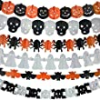Halloween Paper Garland,6 Different pack, Happy Halloween Party Decoration Tissue Paper Garland Halloween String Banner ,Pumpkin Bat Ghost Spider Skull Shape