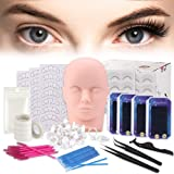 False Eyelashes Extension Practice Exercise Set, TopDirect Flat Mannequin Head Kit for Makeup Training, Eyelash Graft (Tamaño: 15 PCS)