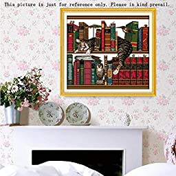 Constructan(TM) 3D DIY 14CT Cat on Bookshelf Pattern Cross-Stitching Handmade Hobby Needlework Counted Cross Stitch Kits for Embroidery Set