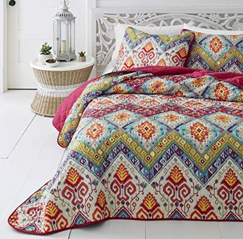 3-Piece-Medallian-Themed-Quilt-Full-Queen-Set-Beautiful-Bohemian-Hippie-Boho-Chic-Stylish-Bedding-Pretty-All-Over-Abstract-Motif-Pattern-Multi-Color-Hippy-Print-Pink-Blue-Green-Orange-Red