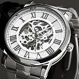 Mens Classic Skeleton Mechanical Silver Stainless Steel Men Luxury Sport Wrist Watch
