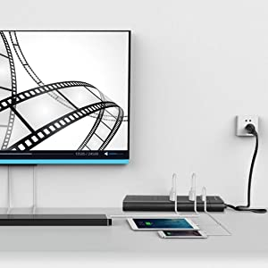 Power Strip with USB, AUOPLUS Grounded Surge Protector with 8 Outlets and 3 USB Ports[Flat Plug/Wall Mountable] 6FT Extension Cord, Desktop Charging Station for Computer Laptops Smartphone Home Office (Color: Black)