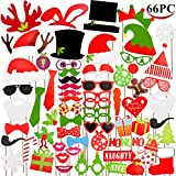 Joyin Toy 66 Pieces Christmas Photo Booth Props for Christmas Event Party Favors and Christmas Decorations Art Crafts.