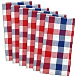 "DII 100% Cotton, Oversized Basic Everyday 20x20"" Napkin Set of 6, Red , White & Blue Check"