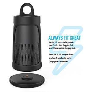 AhaStyle Premium Silicone Case Sling Cover for Bose SoundLink Revolve [Impact Resistant] [Easy to Carry] (Black) (Color: Black)