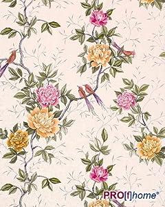 edem 831 22 romantische blumen vogel tapete chinesische rosen paradies v gel creme wei olive. Black Bedroom Furniture Sets. Home Design Ideas