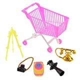 MonkeyJack 5pieces Supermarket Shopping Cart Handcart Camera Phone Set For 12'' 1/6 Doll Barbies Kelly Ken (Tamaño: as described)