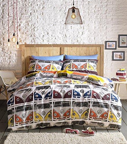 Campervan VW Trapunta per letto King-size, copripiumino e 2 federe Vdub ufficiale VW Camper Van, multicolore