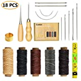 SIMPZIA 18 Pieces Leather Craft Tools with Hand Sewing Needles Drilling Awl Waxed Thread and Thimble for Leather Upholstery Carpet Canvas DIY Sewing (Color: 18 pcs)
