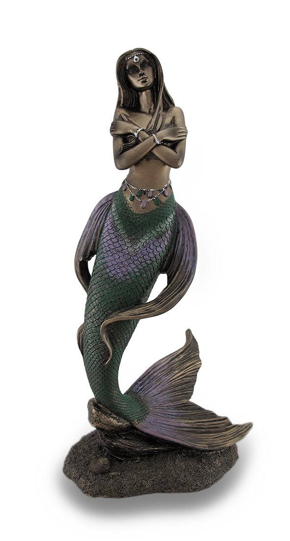Resin Statues 13 1/2 Inch Bronze Finish Nude Mermaid Statue Hand Painted Accents 6 X 13.5 X 4.5 Inches Bronze
