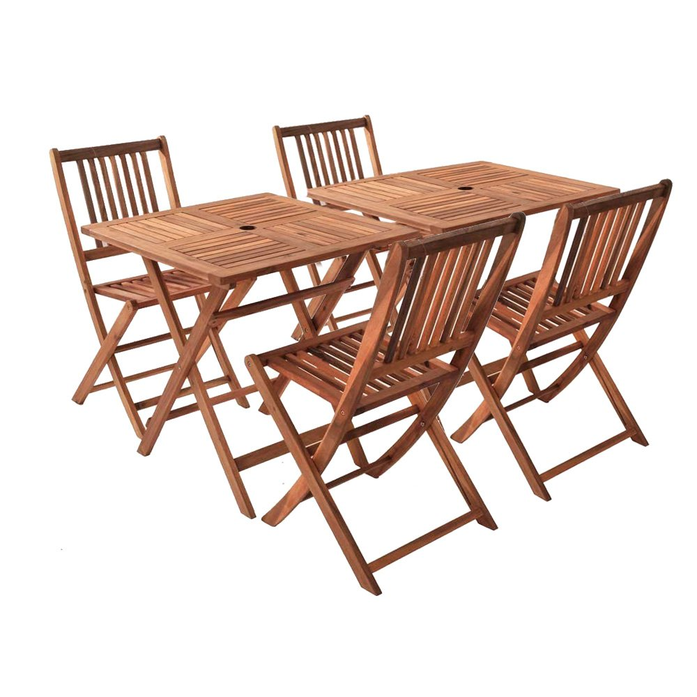 SAM® Sparset: Balkon-Gruppe Jolanda, 6tlg., aus Akazienholz, Garten-Gruppe bestehend aus 2 x Tisch + 4 x Klappstuhl, zusammenklappbar, leicht zu verstauen günstig