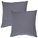 Home Kouture Polyester Set Of 2 Stripetease Cushion Cover; Dark Blue And Gold, 40.64 X 40.64 CM