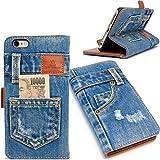 本格デニム iPhone6s plus ケース / iPhone6 plus ケース 手帳型 (アイフォン6s プラス / 6 プラス 兼用 5.5インチ用) マグネット式、スタンド機能、カード収納 人気アイホンケース