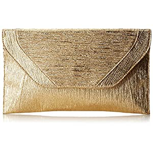 Patzino Fashion Collection, Faux Leather Women's Envelope Clutch/ Purse (Gold)