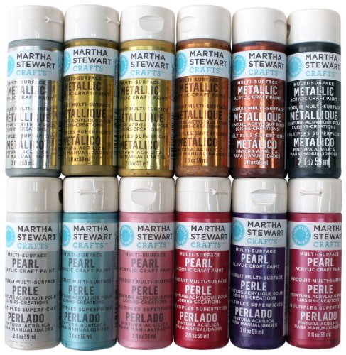 Martha Stewart Crafts Multi-Surface Acrylic Craft Paint Set (2-Ounce), PROMOMET/PRL Metallic and Pearl Best Selling Colors (Martha Stewart Glass Paint compare prices)
