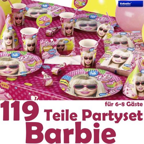 119-teiliges-BARBIE-fr-Party-und-Geburtstag-mit-bis-zu-8-Gsten-Teller-Becher-Servietten-Partytten-Tischdecke-Einladungen-Trinkhalme-Partykette-Luftschlangen-Luftballons-Partyhtchen-uvm-von-Riethmller-