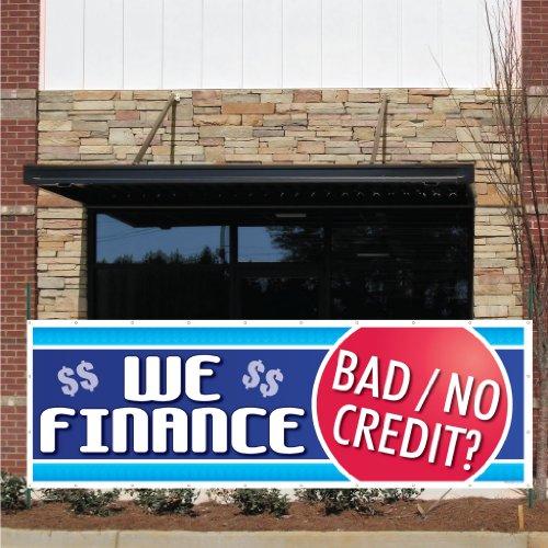 Auto Sales Banner - 3' x 9' 'We Finance Bad Credit' 10 oz. Vinyl Banner, with Grommets for Hanging
