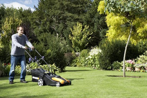 WORX WG782 14-Inch 24-Volt Cordless Lawn Mower with IntelliCut