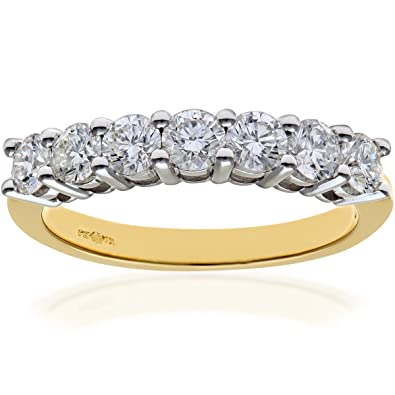 Naava 18 ct Yellow Gold Eternity Ring, H/SI Certified Diamonds, Round Brilliant, 1.00 ct